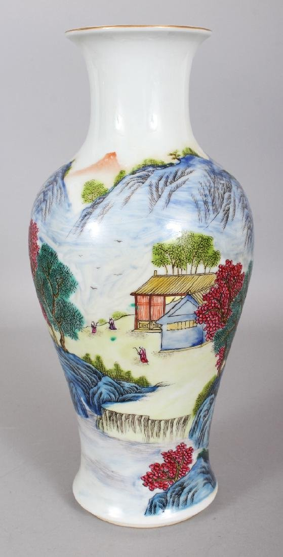 A CHINESE FAMILLE ROSE BALUSTER PORCELAIN VASE, the - 3