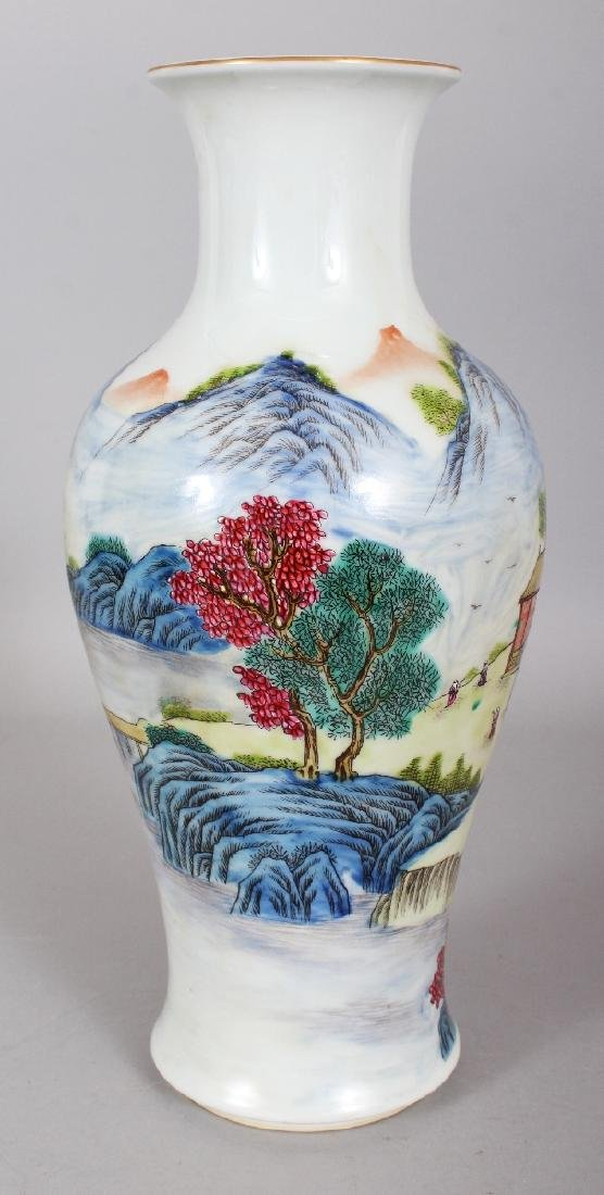 A CHINESE FAMILLE ROSE BALUSTER PORCELAIN VASE, the - 4