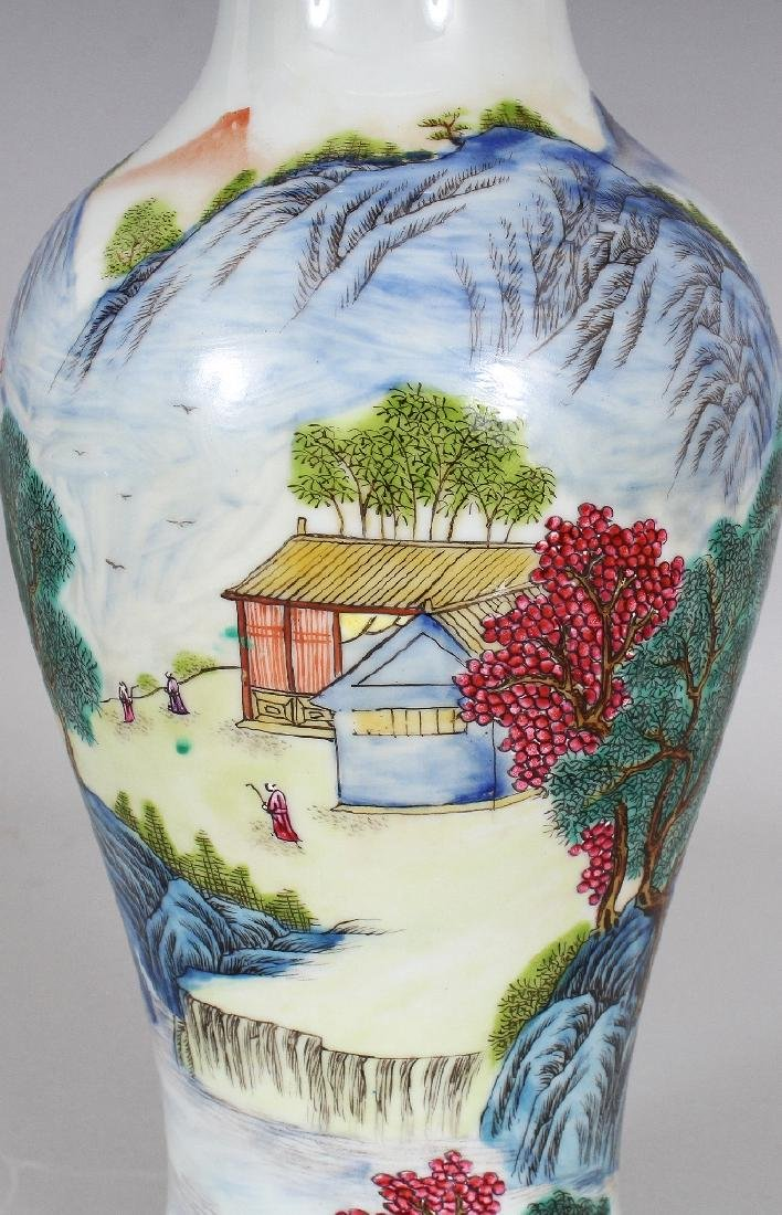 A CHINESE FAMILLE ROSE BALUSTER PORCELAIN VASE, the - 5