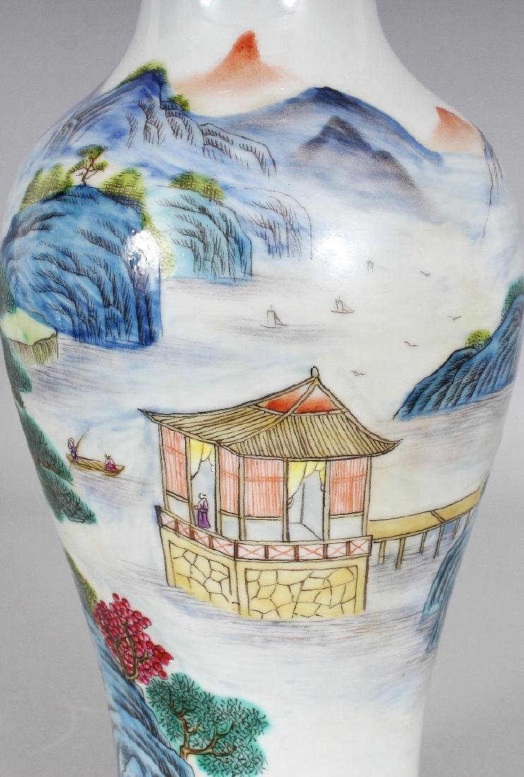 A CHINESE FAMILLE ROSE BALUSTER PORCELAIN VASE, the - 6
