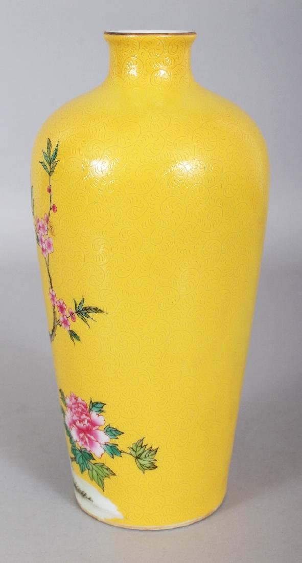 A CHINESE YELLOW GROUND PORCELAIN VASE, decorated with - 4
