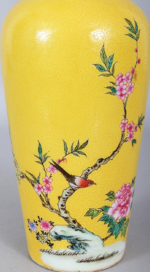 A CHINESE YELLOW GROUND PORCELAIN VASE, decorated with - 5