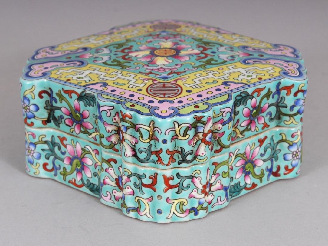 AN UNUSUAL CHINESE FAMILLE ROSE SHAPED PORCELAIN BOX &