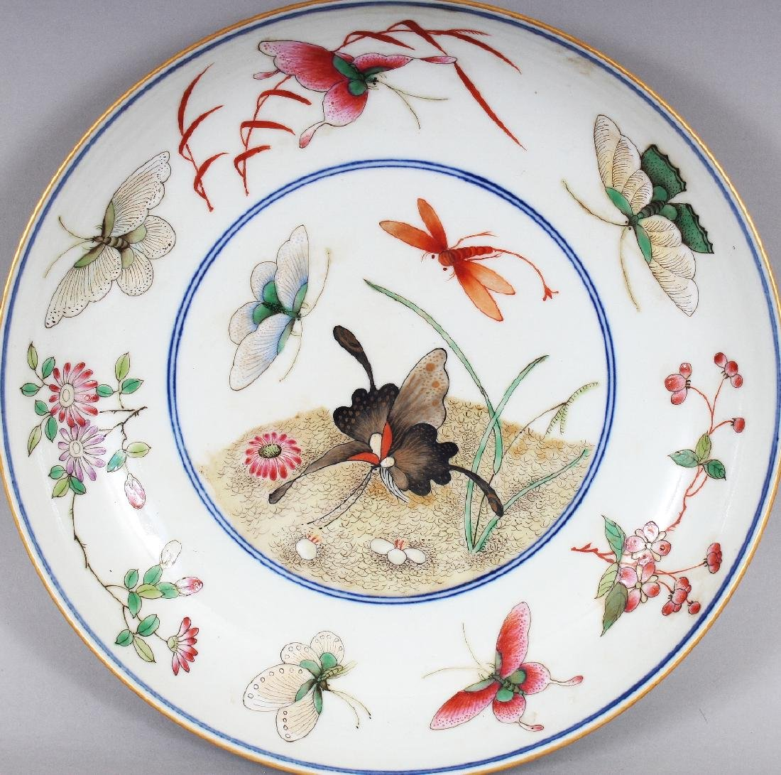 A CHINESE FAMILLE ROSE PORCELAIN BUTTERFLY SAUCER DISH, - 2