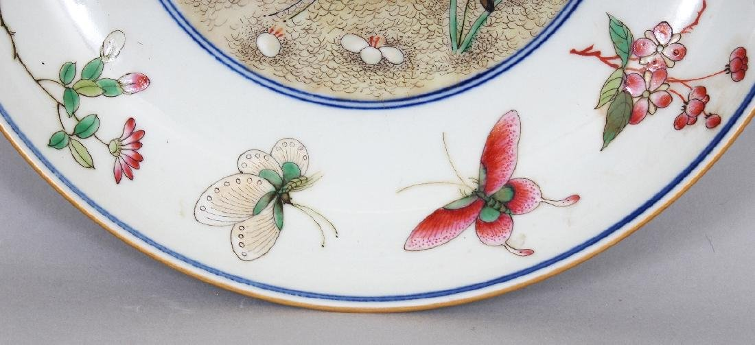 A CHINESE FAMILLE ROSE PORCELAIN BUTTERFLY SAUCER DISH, - 3