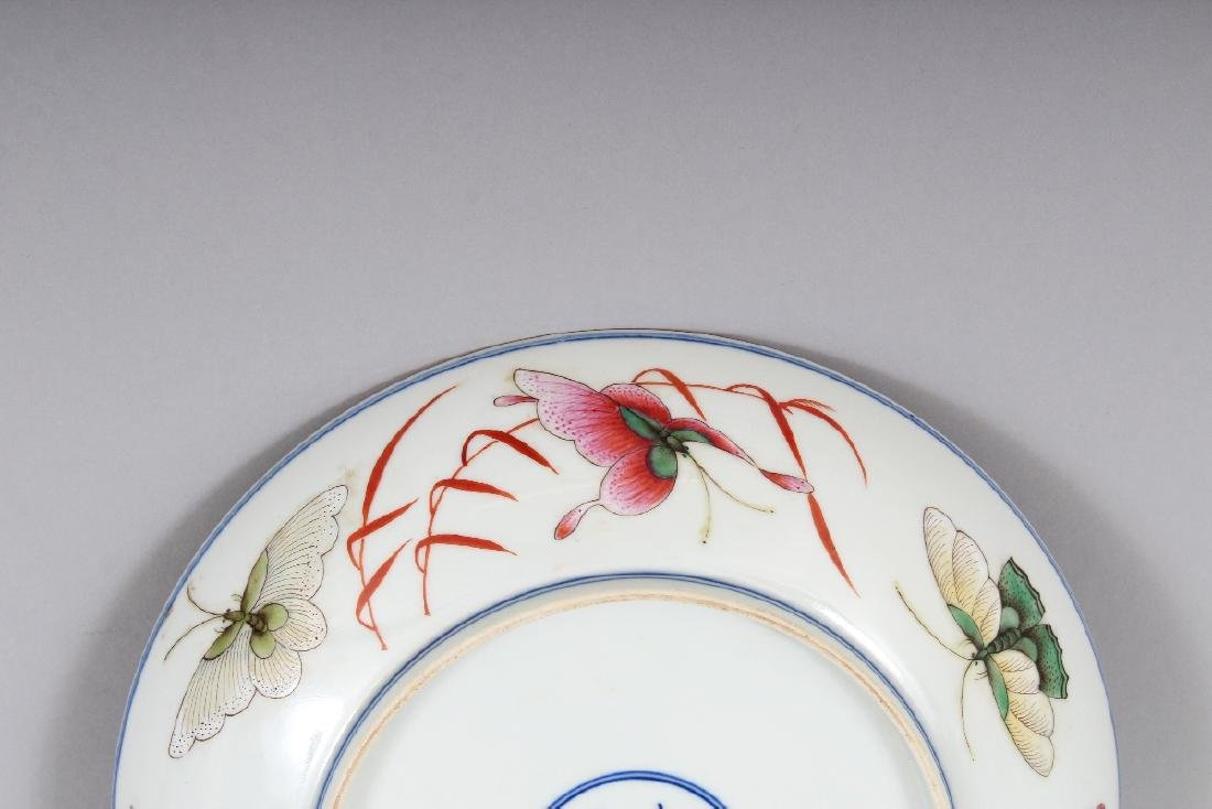 A CHINESE FAMILLE ROSE PORCELAIN BUTTERFLY SAUCER DISH, - 6