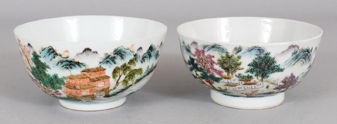 TWO SIMILAR CHINESE FAMILLE ROSE PORCELAIN BOWLS, the