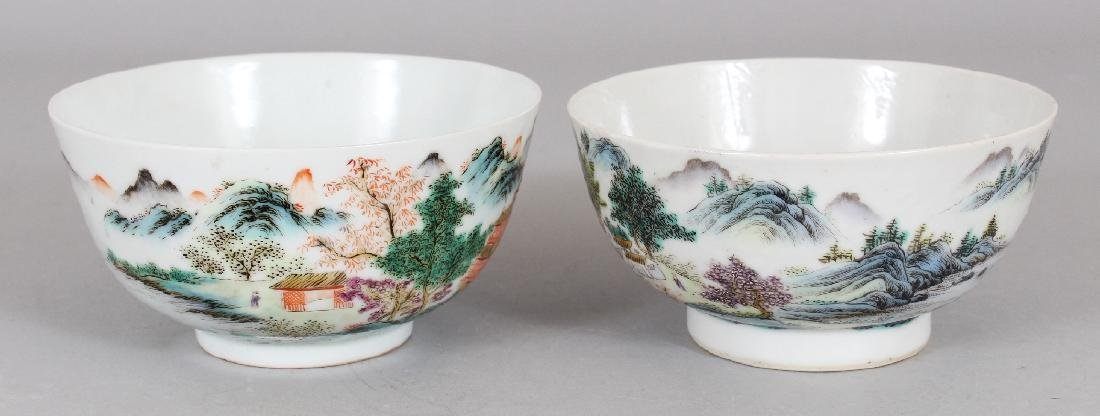 TWO SIMILAR CHINESE FAMILLE ROSE PORCELAIN BOWLS, the - 2