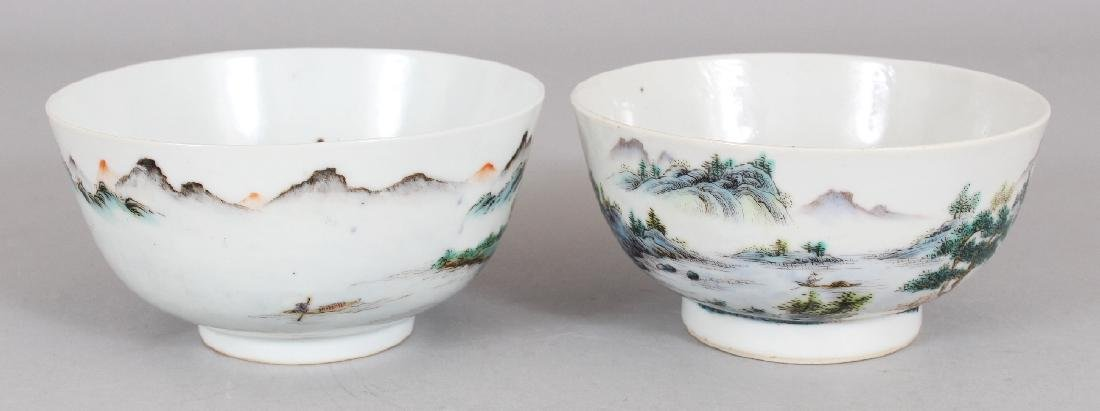 TWO SIMILAR CHINESE FAMILLE ROSE PORCELAIN BOWLS, the - 3