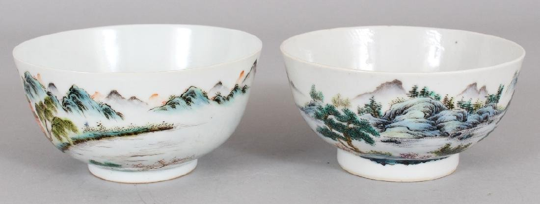 TWO SIMILAR CHINESE FAMILLE ROSE PORCELAIN BOWLS, the - 4