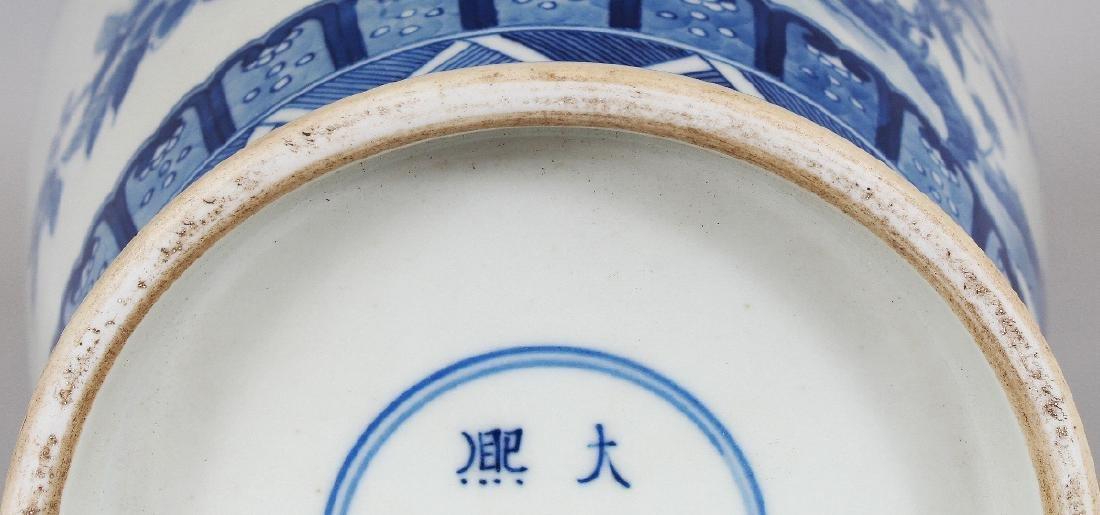 A CHINESE KANGXI STYLE BLUE & WHITE PORCELAIN VASE, - 10