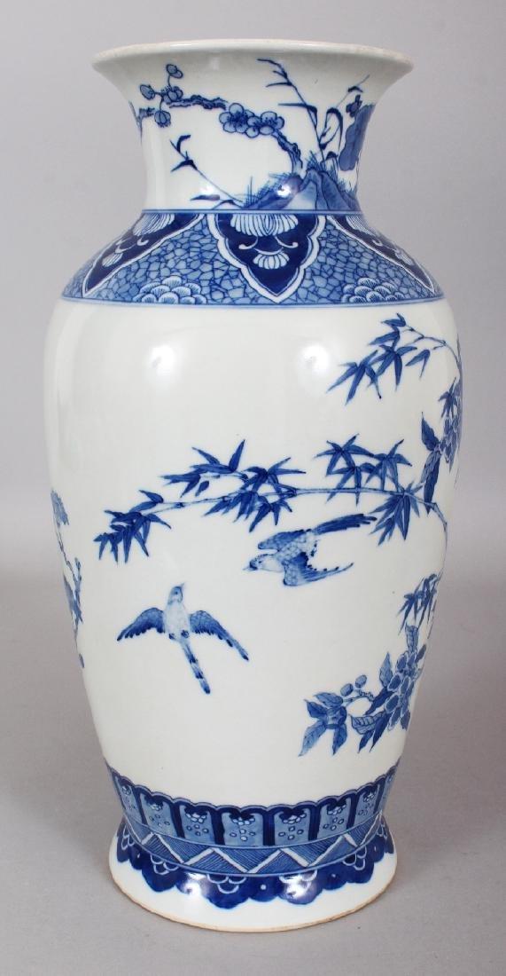 A CHINESE KANGXI STYLE BLUE & WHITE PORCELAIN VASE, - 4