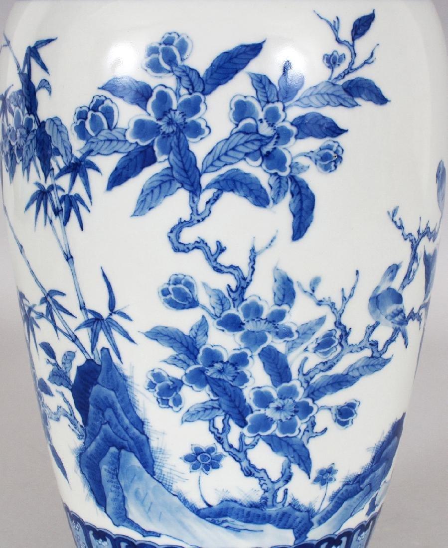 A CHINESE KANGXI STYLE BLUE & WHITE PORCELAIN VASE, - 5