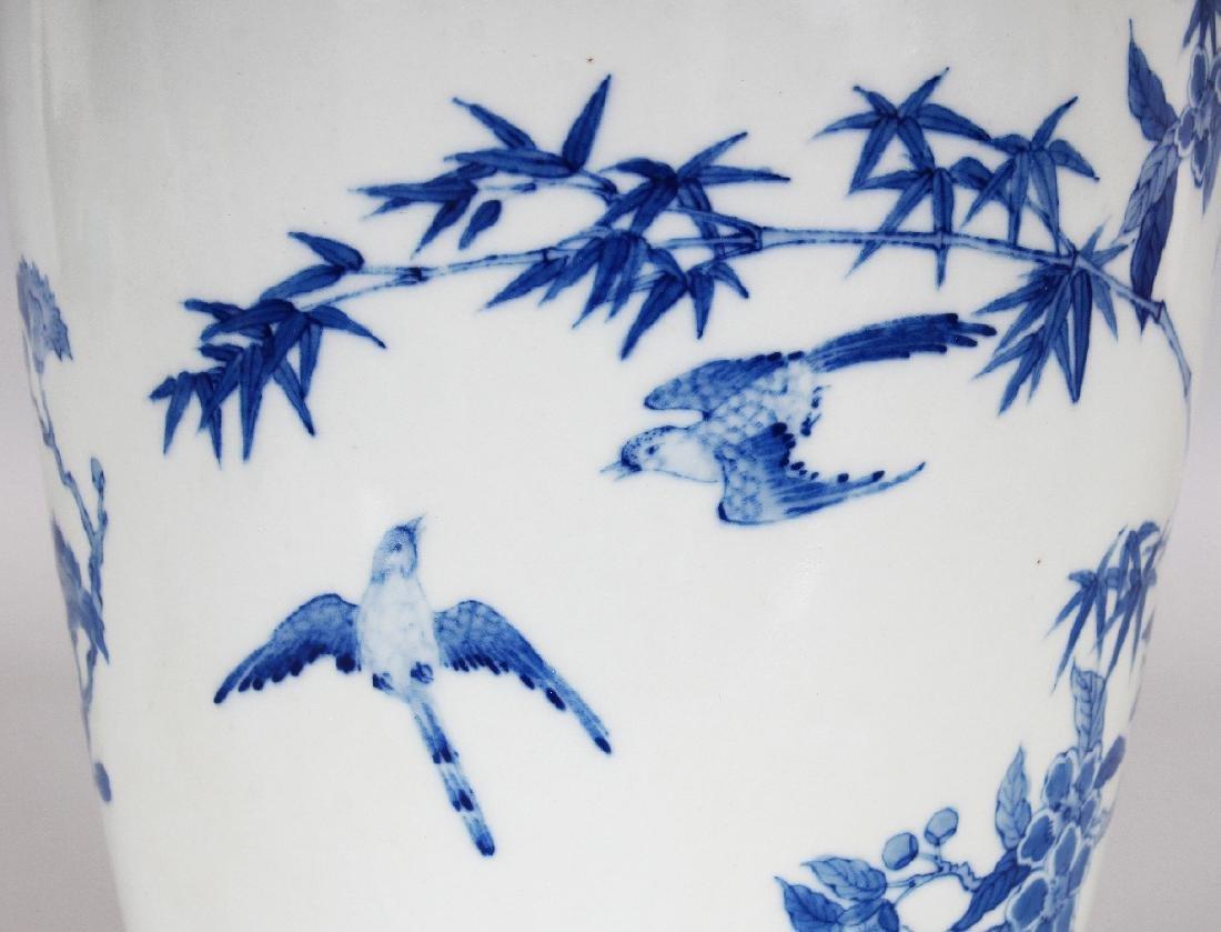 A CHINESE KANGXI STYLE BLUE & WHITE PORCELAIN VASE, - 6