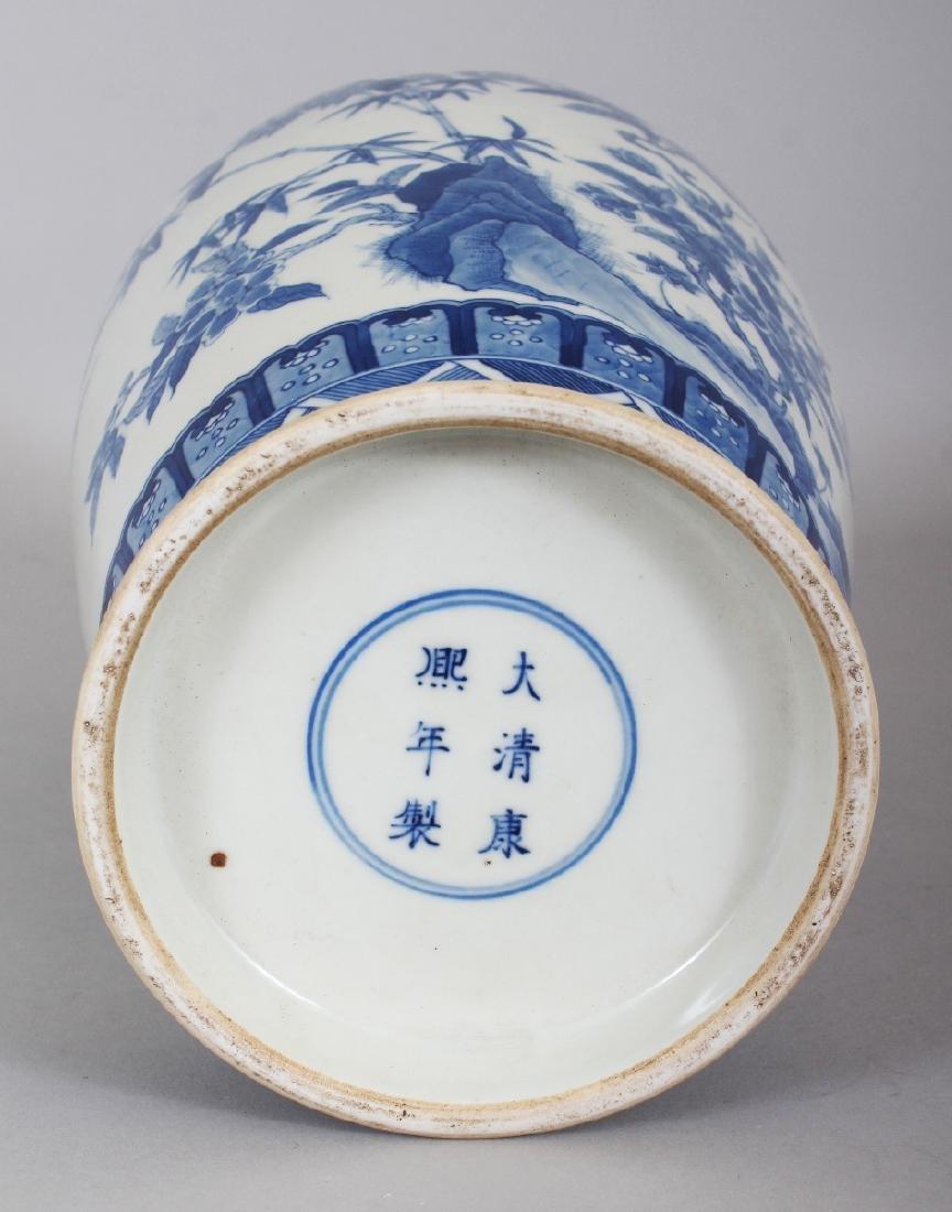A CHINESE KANGXI STYLE BLUE & WHITE PORCELAIN VASE, - 8