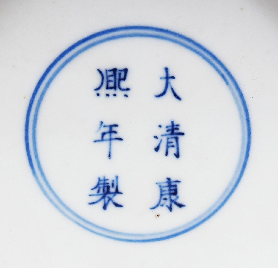 A CHINESE KANGXI STYLE BLUE & WHITE PORCELAIN VASE, - 9