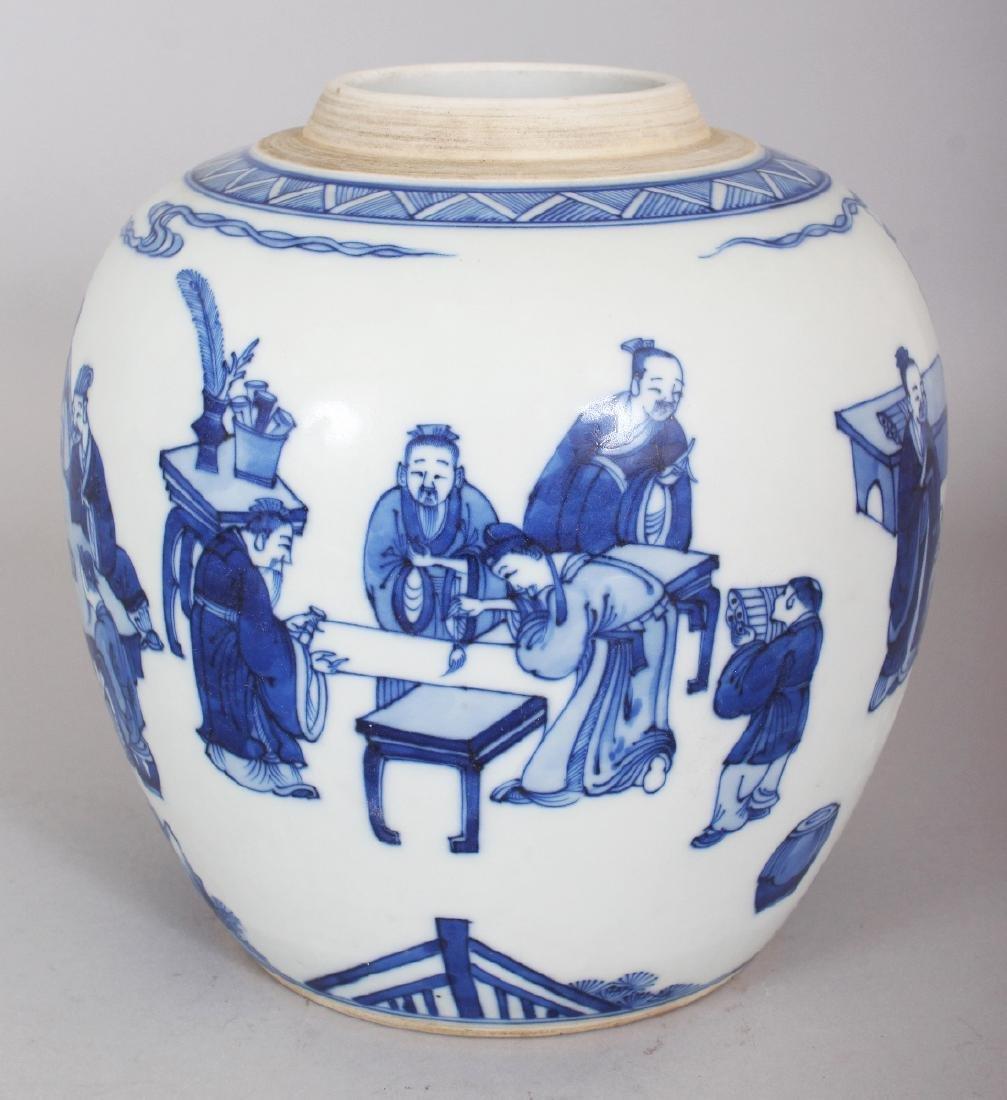 A CHINESE KANGXI STYLE BLUE & WHITE PORCELAIN JAR, - 2