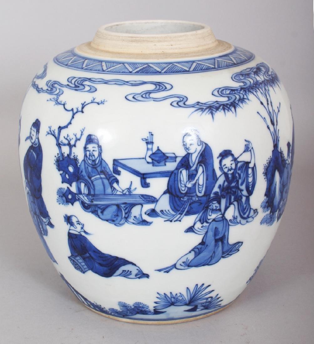 A CHINESE KANGXI STYLE BLUE & WHITE PORCELAIN JAR, - 4
