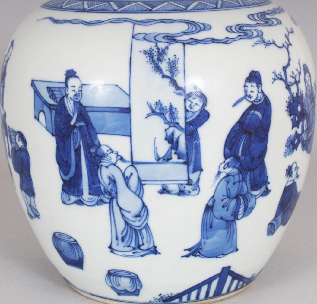 A CHINESE KANGXI STYLE BLUE & WHITE PORCELAIN JAR, - 5