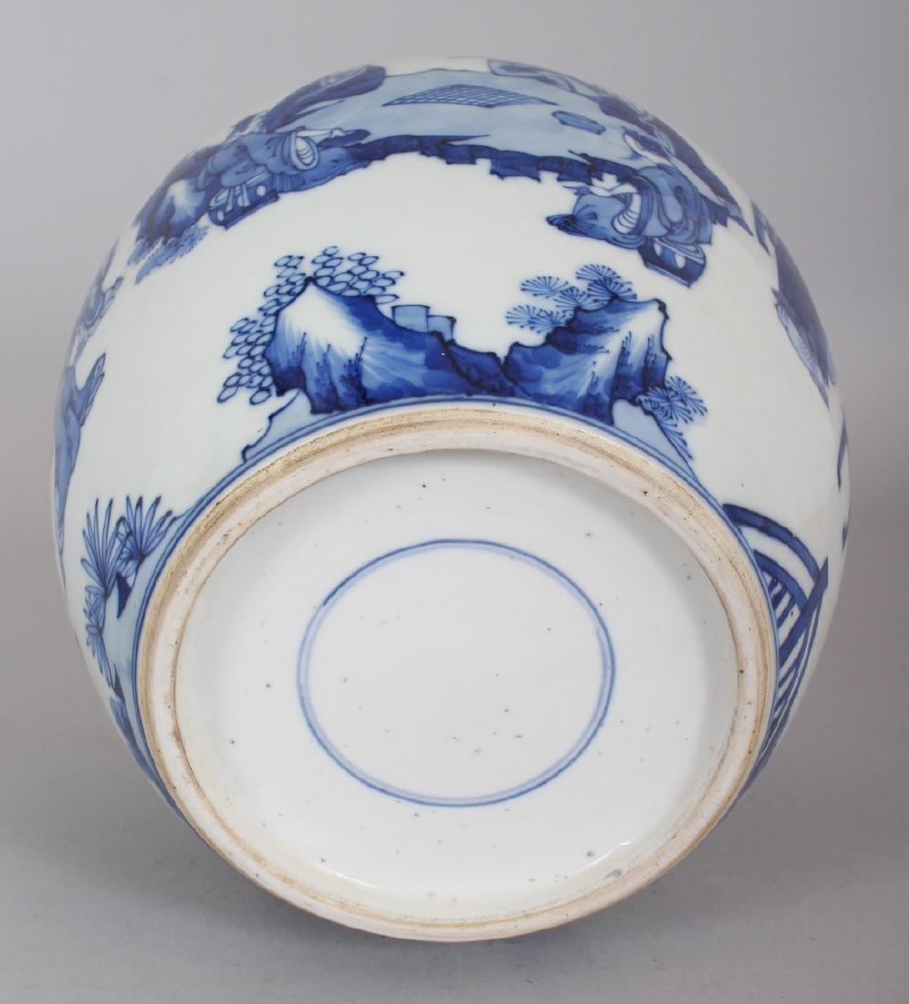 A CHINESE KANGXI STYLE BLUE & WHITE PORCELAIN JAR, - 7