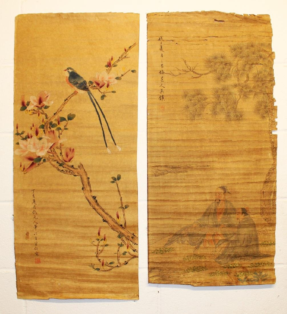 TWO CHINESE PAPER SCROLL PICTURES, each laid on fabric,