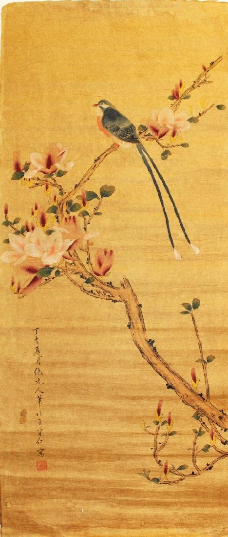 TWO CHINESE PAPER SCROLL PICTURES, each laid on fabric, - 2