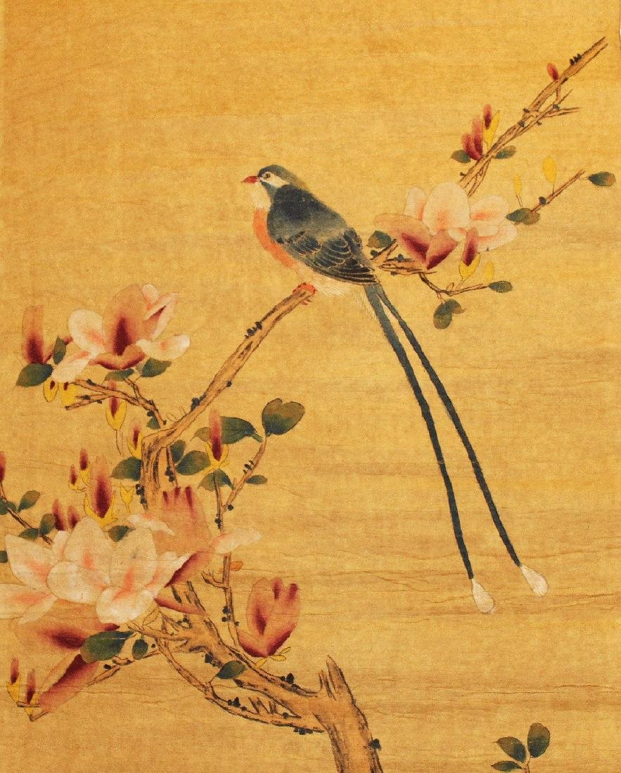 TWO CHINESE PAPER SCROLL PICTURES, each laid on fabric, - 3
