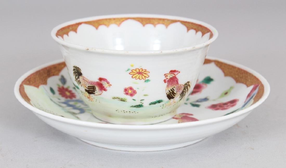 AN 18TH CENTURY STYLE CHINESE FAMILLE ROSE COCKEREL