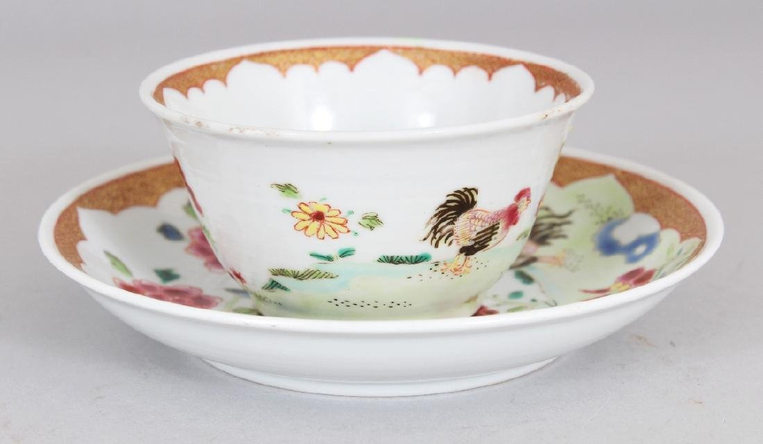 AN 18TH CENTURY STYLE CHINESE FAMILLE ROSE COCKEREL - 2