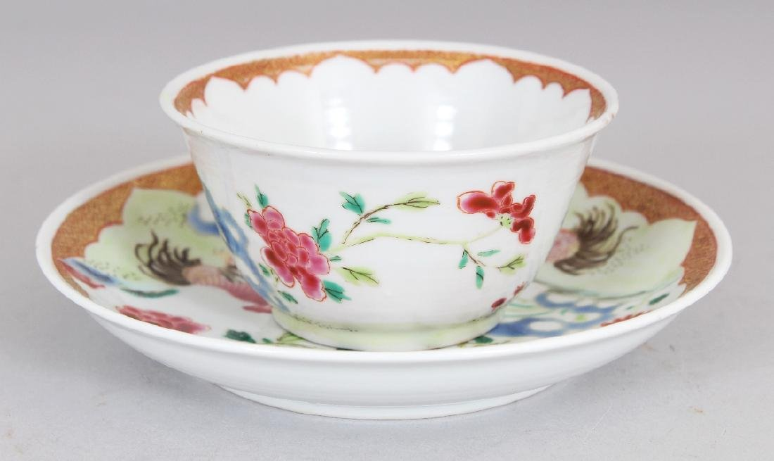 AN 18TH CENTURY STYLE CHINESE FAMILLE ROSE COCKEREL - 3