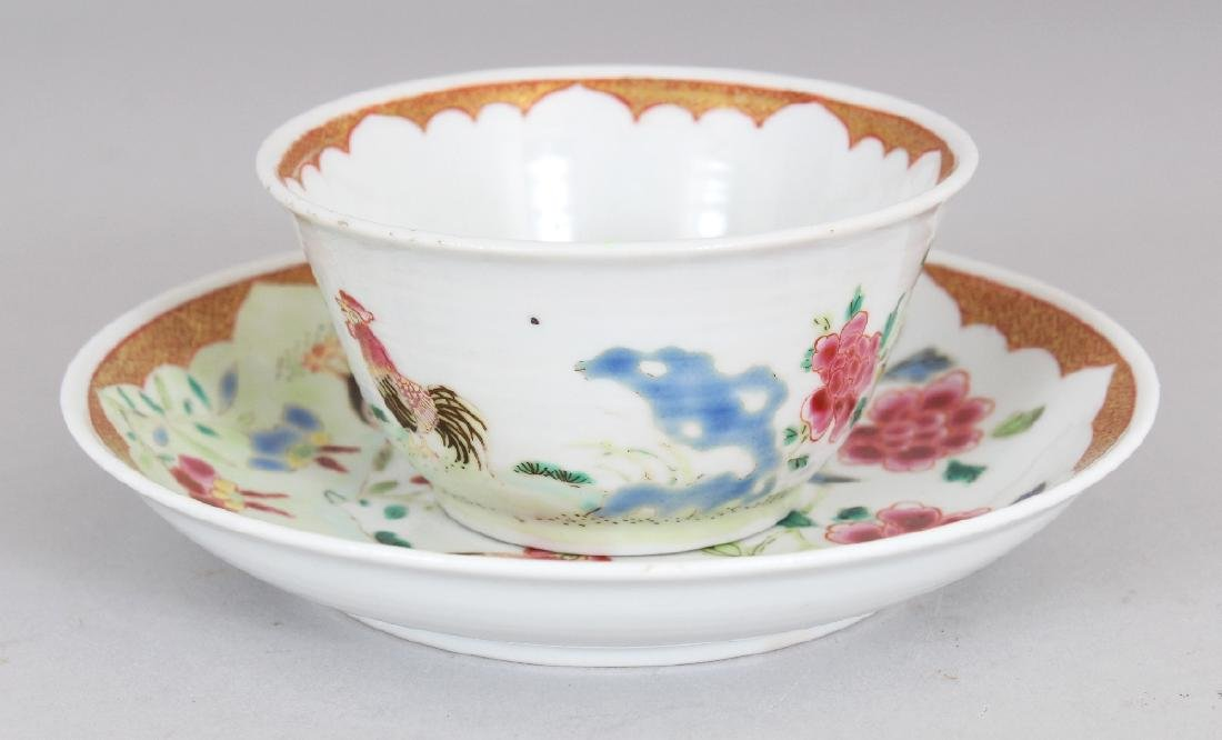 AN 18TH CENTURY STYLE CHINESE FAMILLE ROSE COCKEREL - 4