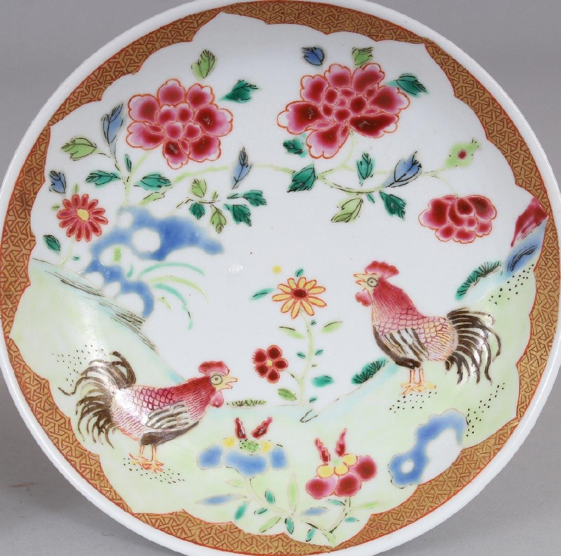 AN 18TH CENTURY STYLE CHINESE FAMILLE ROSE COCKEREL - 7
