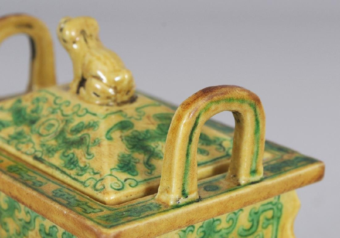 A CHINESE YELLOW & GREEN GLAZED RECTANGULAR PORCELAIN - 5