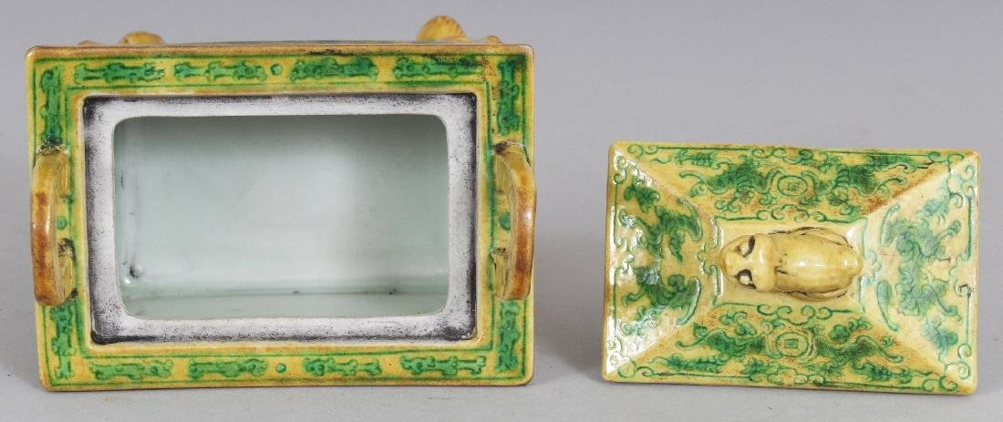 A CHINESE YELLOW & GREEN GLAZED RECTANGULAR PORCELAIN - 7