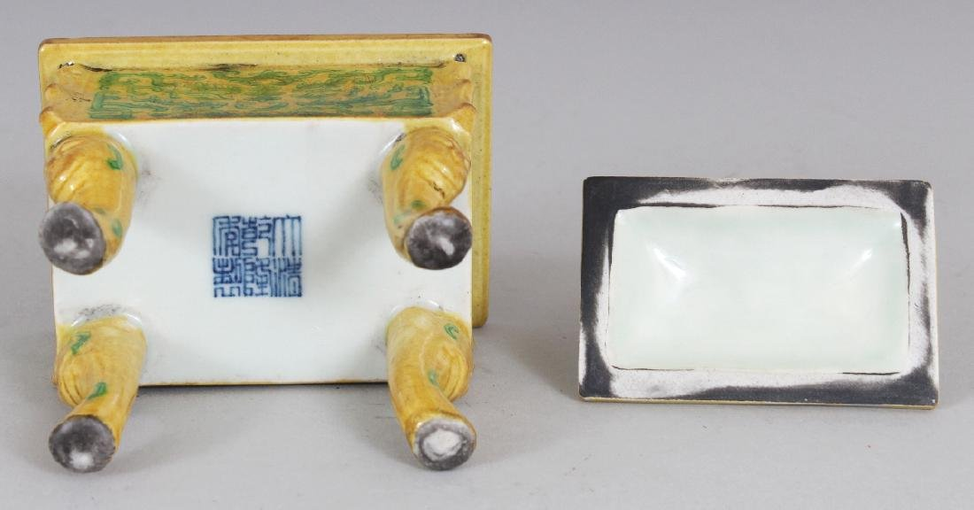 A CHINESE YELLOW & GREEN GLAZED RECTANGULAR PORCELAIN - 8