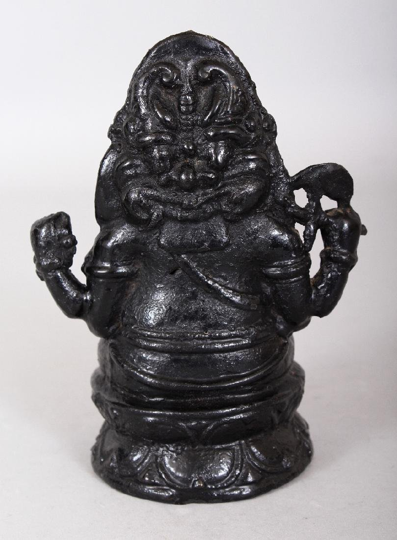 AN INDIAN LACQUERED BRONZE FIGURE OF GANESHA, the - 2