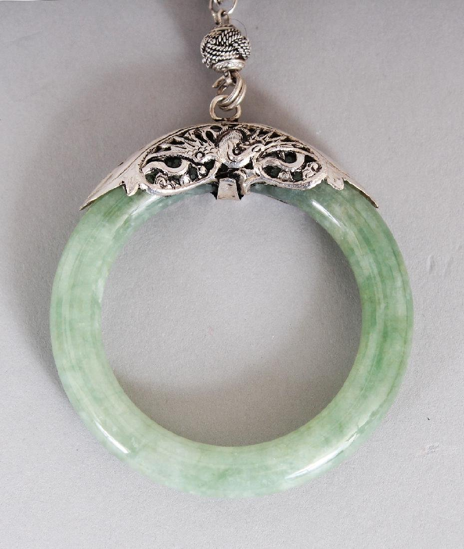 A GROUP OF FOUR CHINESE JADE ORNAMENT NECKLACES, with - 5