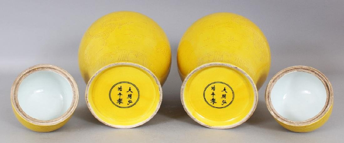 A PAIR OF CHINESE MING STYLE YELLOW GLAZED PORCELAIN - 5