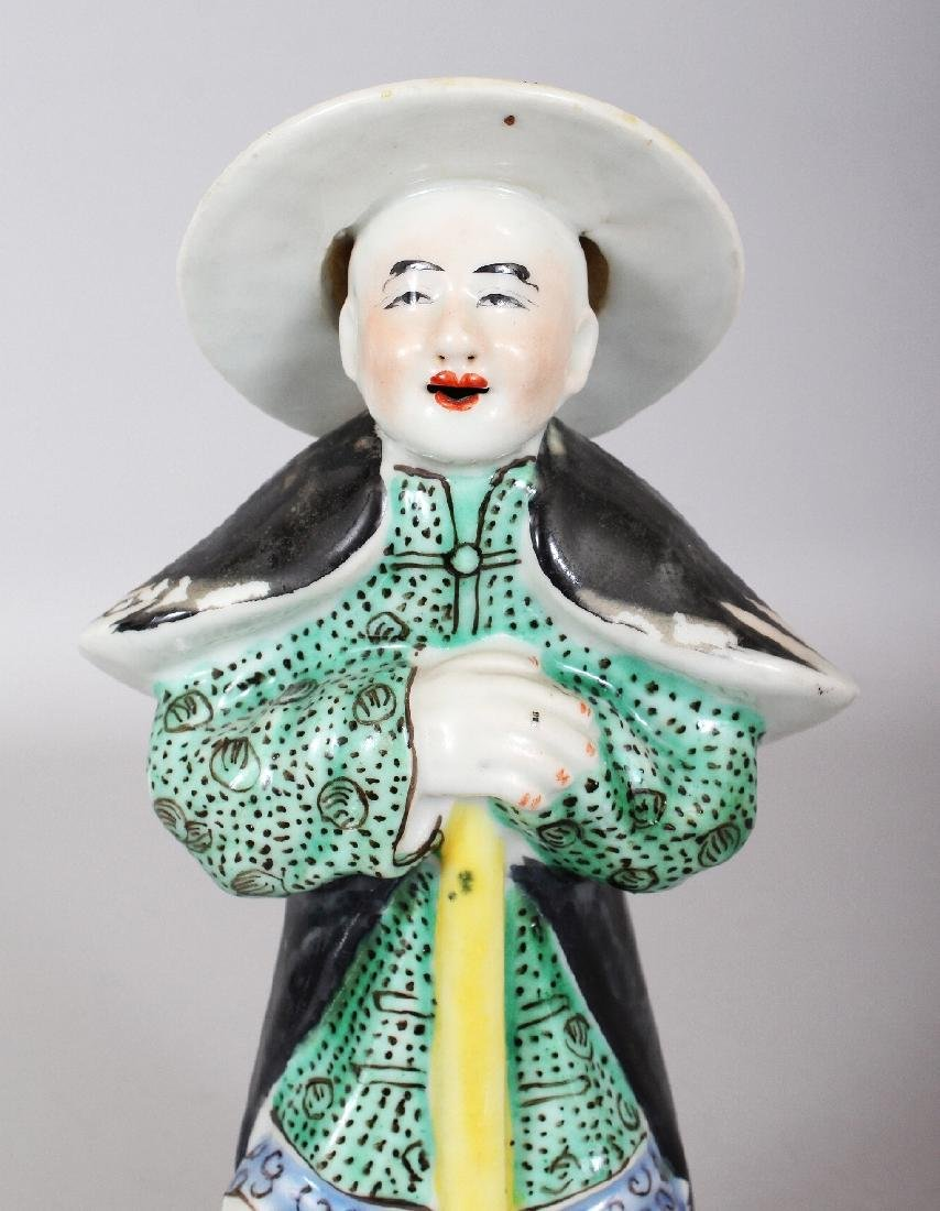 A 20TH CENTURY CHINESE ENAMELLED PORCELAIN FIGURE OF A - 3