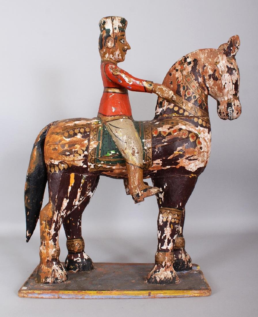 A LARGE 19TH CENTURY INDIAN LACQUERED WOOD FIGURE OF A - 3