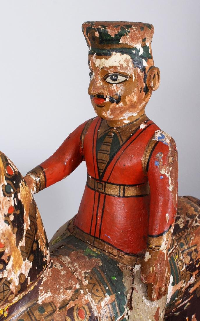A LARGE 19TH CENTURY INDIAN LACQUERED WOOD FIGURE OF A - 5