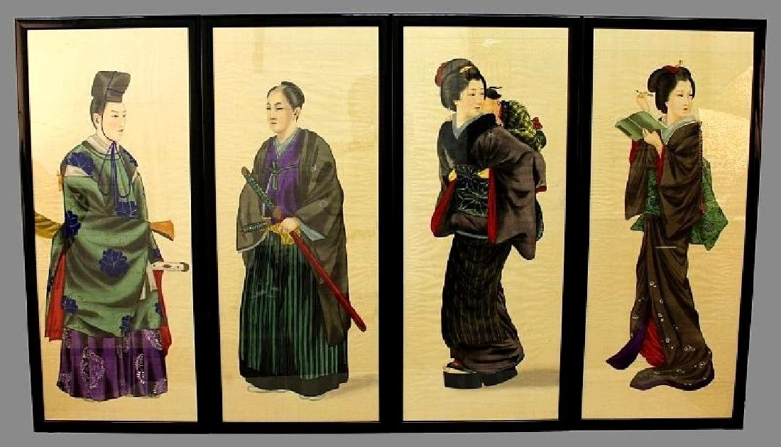 A SET OF FOUR EARLY 20TH CENTURY JAPANESE FRAMED