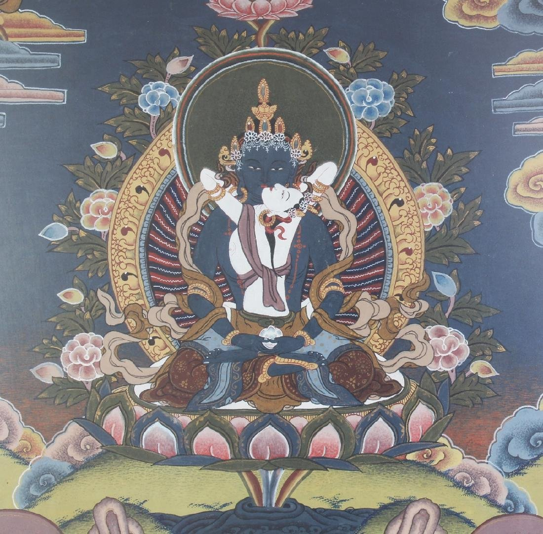 A FRAMED TIBETAN THANGKA, the frame 28.1in x 20.3in. - 3
