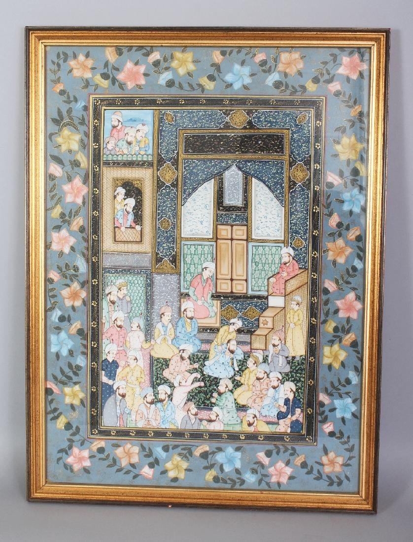 A 20TH CENTURY FRAMED PERSIAN PAINTING ON PAPER, the