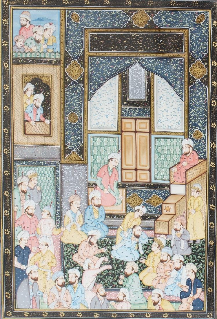 A 20TH CENTURY FRAMED PERSIAN PAINTING ON PAPER, the - 2