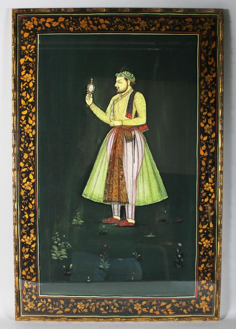 A FRAMED PORTRAIT OF A MUGHAL EMPEROR, pigment on