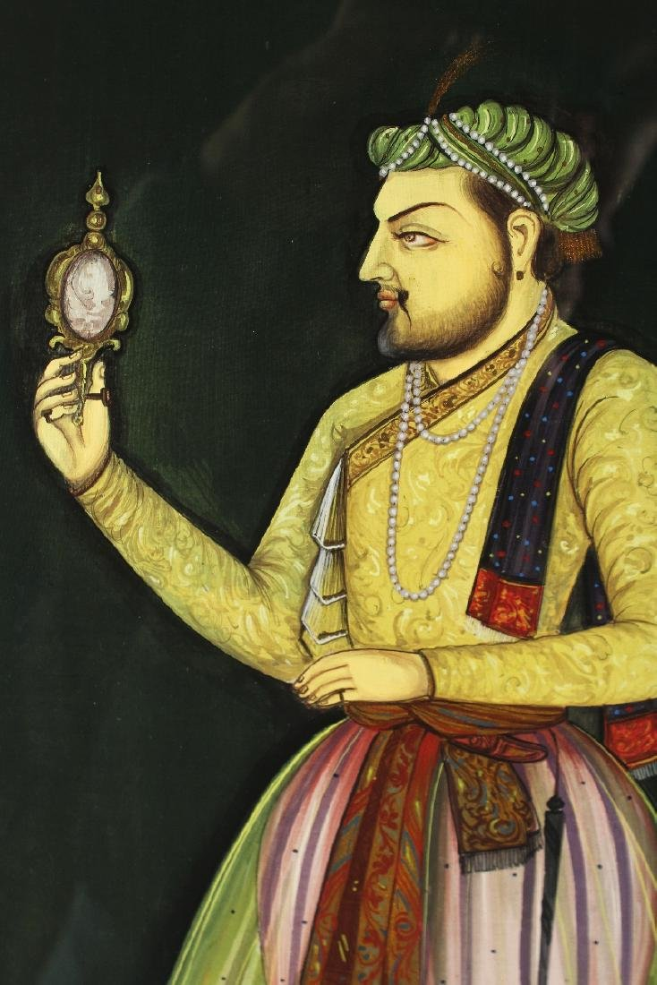 A FRAMED PORTRAIT OF A MUGHAL EMPEROR, pigment on - 2