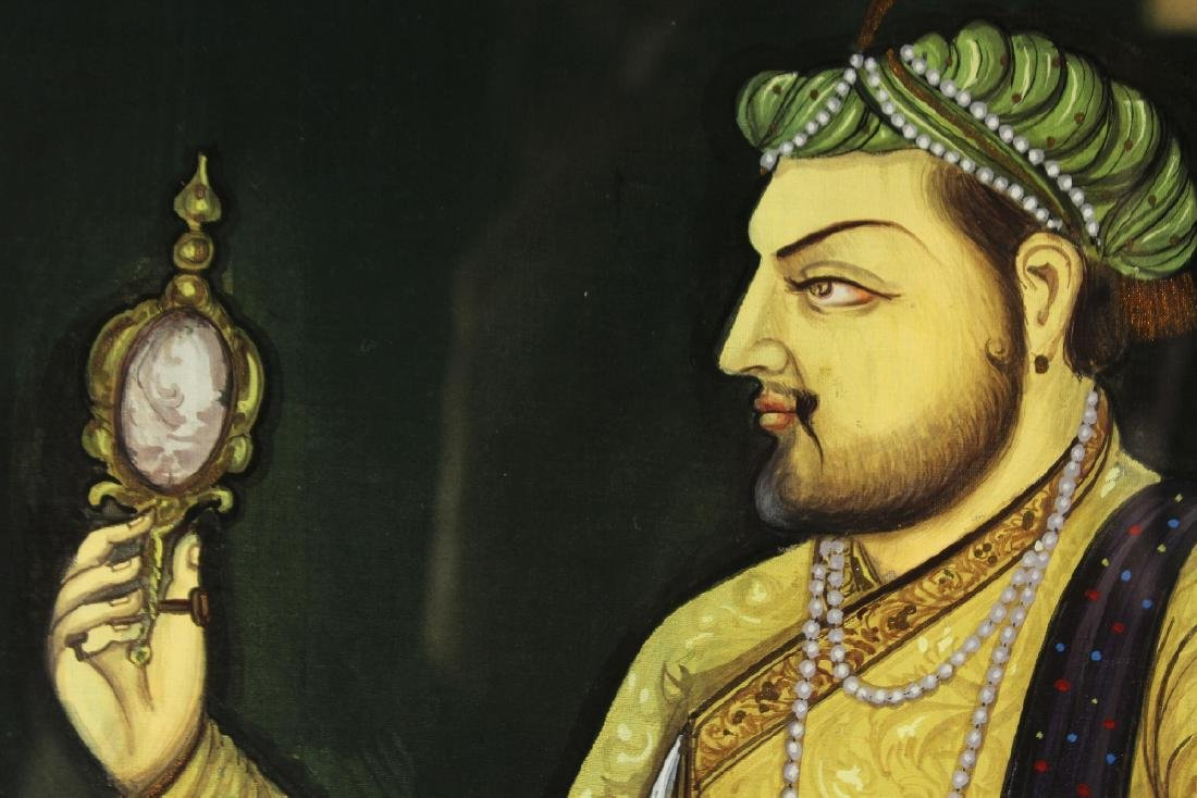 A FRAMED PORTRAIT OF A MUGHAL EMPEROR, pigment on - 4