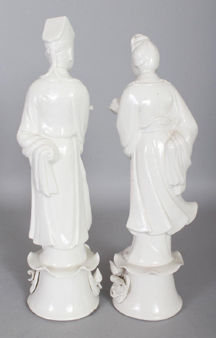A PAIR OF 20TH CENTURY CHINESE BLANC-DE-CHINE PORCELAIN - 2
