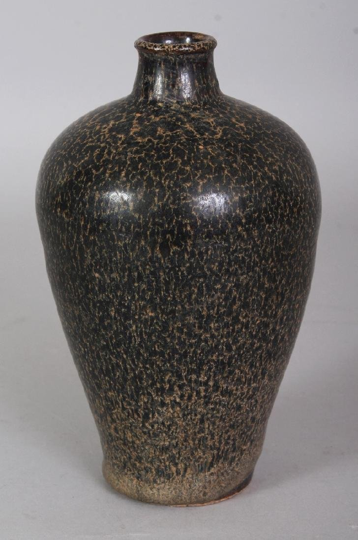 A CHINESE JIZHOU WARE MOTTLED GLAZE CERAMIC VASE, the